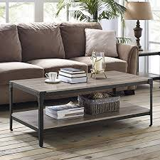walker edison coffee table amazon com walker edison furniture 48 angle iron rustic wood