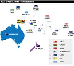 map of australia and oceania countries and capitals of australia and oceania countries
