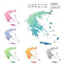 Greece Maps Set Of Vector Polygonal Greece Maps U2014 Stock Vector Gagarych