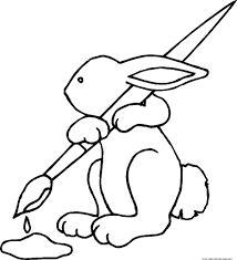 printable easter bunny brushes coloring pages for kidsfree