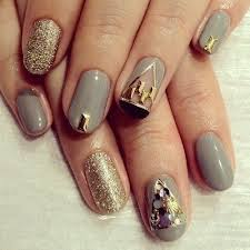 grey and gold glitter 3d nails pictures photos and images for