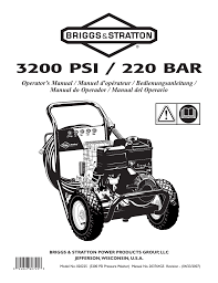 briggs u0026 stratton 3200 psi 220 bar user manual 92 pages