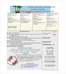 weekly newsletter template kindergarten classroom newsletter