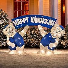 Amazon Outdoor Lighted Christmas Decorations by Amazon Com Lighted Happy Hanukkah Polar Teddy Bears Blue White