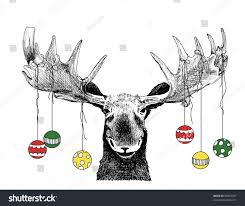 funny christmas card moose design hand stock vector 88407007