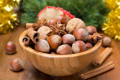Christmas Nuts Bowl Of Christmas Nuts Royalty Free Stock Image Image 7252486