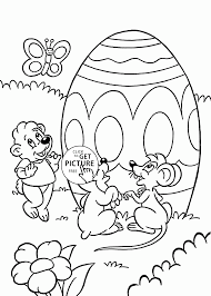 animals and easter egg coloring page for kids coloring pages