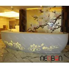 White Curved Reception Desk Upscale White Spa Reception Desk With Led Curved Flowers Pattern