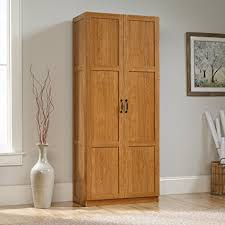 sauder kitchen storage cabinets amazon com sauder storage cabinet highland oak finish kitchen
