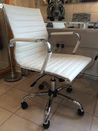 eames style warm white faux leather office chair