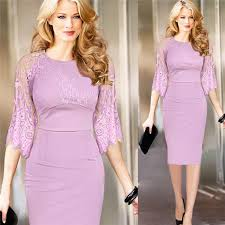 elegant office dress for ladies 2016 lace combination knee length