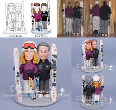 snowboarding skier wedding cake toppers