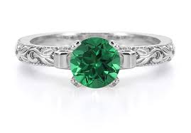 emerald engagement ring 1 carat deco emerald engagement ring 14k white gold