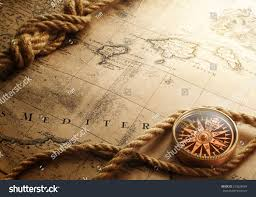 Compass Map Old Compass On Vintage Map Stock Photo 253528084 Shutterstock