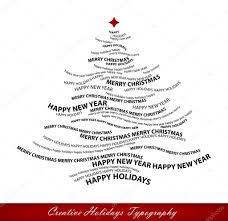 christmas tree shape from words typographic composition vect