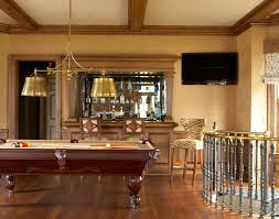 pool table light fixture family room traditional with bar