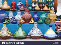 traditional clay pots with moroccan painted ornaments in a sales