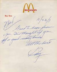 Handwritten Business Letter by Letter Handwritten And Signed By Raymond A Kroc Includes An