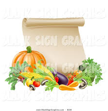 vector illustration of a thanksgiving scroll with harvest