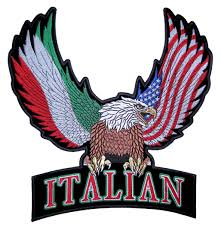 Bald Eagle And American Flag Patriotic Eagle With Italian And American Flag Wings Rocker Patch