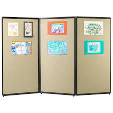 versare 3 panel tackable room divider 7 5w ft walmart com