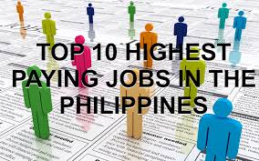 top 10 highest paying jobs in the philippines 2015 average