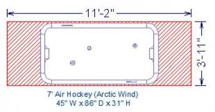 Air Hockey Table Dimensions by The Game Of Air Hockey Entertaining Design