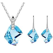 blue crystal necklace swarovski images Earrings cbuystore india jpg