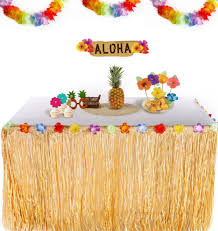Luau Party Table Decorations Hibiscus Flower Artificial Grass Table Skirt Hawaiian Summer Luau