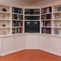 Carson Corner Bookcase Furniture Floating White Wooden Corner Bookcase With Six Triangle