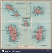 Antigua Map West Indies Dominica St Kitts Antigua St Lucia Montserrat 1927