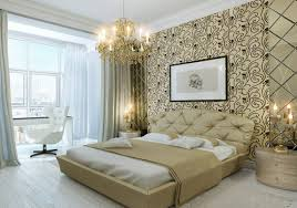 ivory tufted leather headboard elegant chandelier white wall paint