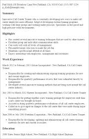 Customer Service Example Resume by Professional Call Center Trainer Templates To Showcase Your Talent