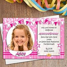 10 personalised girls birthday party photo invitations n133 1st