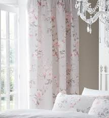 Pink Pleated Curtains Canterbury Grey Rose Floral Pencil Pleat Curtains 66 X 72