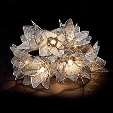 silver flowers metal silver flowers hanging light string