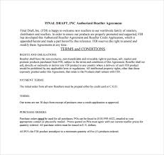 reseller contract template sle reseller agreement