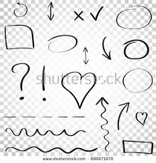 hand drawn arrows circles icon set stock vector 686671678