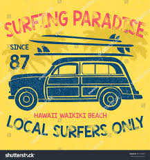 surf car vintage surf car illustration vector typography stock vector
