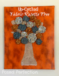 posed perfection up cycled fabric rosette tree