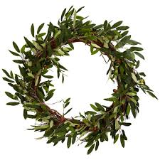 decorative wreaths for the home nearly natural 20 0 in h green olive wreath 4773 the home depot