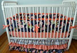 Navy And Coral Baby Bedding Ready To Ship Midnight Garden Navy And Coral Crib Bedding U2013 Soren