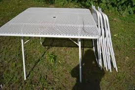 vintage mid century metal mesh folding patio table 4 metal folding