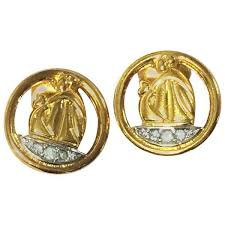 aigner earrings mint vintage lanvin earring iconic logo motif and