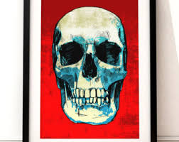 Items Similar To Art Print - items similar to skull with flowers collage art wall decor skull