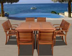 Wood Patio Dining Table by Amazonia Arizona 9pc Square Outdoor Patio Dining Set W Stackable