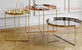 small gold side table post modern stainless steel rose gold small round coffee table
