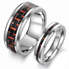 new jewelry rings images Black and red carbon fiber tungsten couple rings evermarker jpg