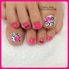 black and white damask swirls with pink heart toe nail design