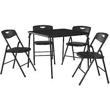 cosco 5 piece card table set black cosco 5 piece folding table and chair set multiple colors walmart com